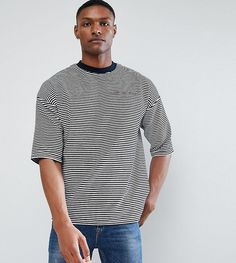Get this Asos's long t-shirt now! Click for more details. Worldwide shipping. ASOS TALL Oversized T-Shirt In Velour Stripe With Text Embroidery - Navy: T-shirt by ASOS TALL, Soft-touch velour, Striped design, Contrast crew neck, Dropped shoulders, Short sleeves, 'What You Sayin' embroidery, Oversized fit - falls generously over the body, Machine wash, 83% Cotton, 17% Polyester, Our model wears a size Medium Long and is 193cm/6'4 tall. Your complete guide to longer lengths has arrived…