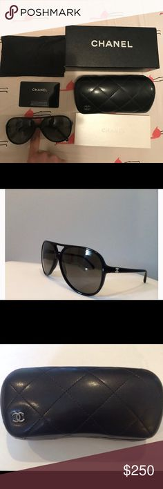 Chanel Black polarized sunglasses AUTHENTIC Used with a scratch (shown in picture) For timeless elegance and luxury, look no further than these aviator sunglasses from one of the world's most iconic fashion houses. featuring a contemporary black frame and polarized lenses, this classic style is both a practical and stylish option. Features: black acetate aviator frames. Grey polarized tinted lenses. Arrives in a branded quilted glasses case with box and authentication card CHANEL Accessories…