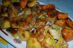 Pollo en salsa verde con papas y batatas