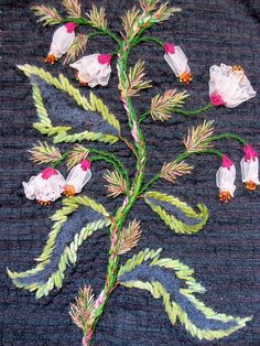 ♒ Enchanting Embroidery ♒ embroidered flowers on dark background