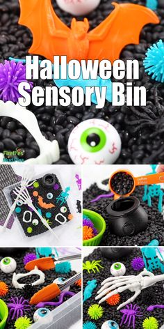 This Halloween Sensory Bin is an easy and fun themed sensory play idea for preschoolers, kindergartners, and older kids. Theme Halloween, Halloween Arts And Crafts, Halloween Crafts For Toddlers, Halloween Door Decorations, Halloween Party Games, Halloween Desserts, Halloween Birthday, Toddler Crafts, Crafts For Kids
