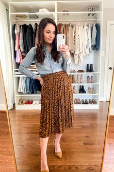 Printed Skirt Outfit, Skirt Outfits, Casual Outfits, Cute Outfits, Work Outfits, Summer Outfits For Work Business, Office Outfits, Modest Outfits, Leopard Print Outfits