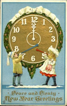 peace and plenty new year greetings vintage new_years card clock