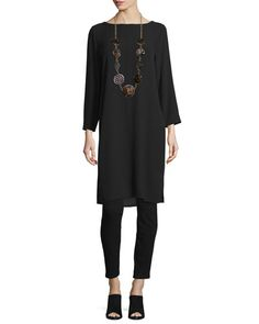 -6P7G Eileen Fisher  Silk Georgette Crepe Tunic, Black