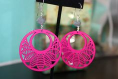Hot Pink and Gray Wood Earrings by dimples211 on Etsy, $12.00