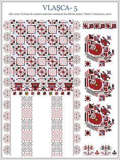 Semne Cusute: ie din Vlasca, MUNTENIA Blackwork Embroidery, Folk Embroidery, Embroidery Patterns, Cross Stitch Patterns, Embroidery Stitches, Beading Patterns, Hand Stitching, Pixel Art, Needlepoint