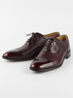 Loake Woodstock Semi-Brogue - Smooth, burgundy semi-brogued toe-cap and heel contrast with pebble-grain, creating a gentleman's shoe of great elegance. Take the rough with the smooth.