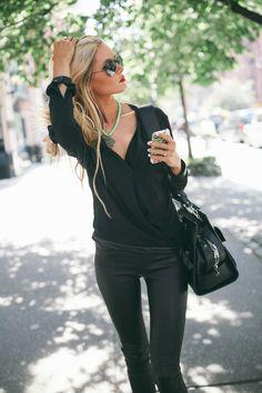 Faux leather leggings, black dress shirt, statement necklace.