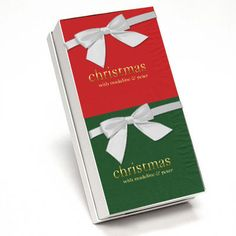 Big Word Christmas Hostess Napkin Gift Set in Choice of Colors