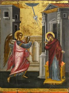 The Annunciation by Tzanfournaris Emmanuel Byzantine Icons, Byzantine Art, Museum Of Fine Arts, Art Museum, Benaki Museum, Pictures Of Mary, Tree Day, Google Art Project, Hermitage Museum