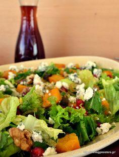 Πράσινη σαλάτα με ψητή κολοκύθα, ρόδι κ καρύδια Cobb Salad, Food, Essen, Yemek, Eten, Meals