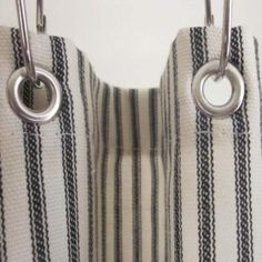 Ticking Stripe Shower Curtain Black, Brown, Grey, Navy, Red  72x72 or custom size