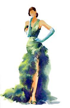 Watercolour old glamour (sarah bell's fashion divas - green satin Watercolor Fashion, Fashion Painting, Watercolor Art, Fashion Illustration Sketches, Fashion Design Sketches, Illustration Art, Art Illustrations, Arte Fashion, Diva Fashion