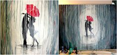 How to Paint a Rainy Day Scene with Acrylics | Easy Wall Art . Paint a rainy day scene with a couple in the rain by following this simple tutorial.