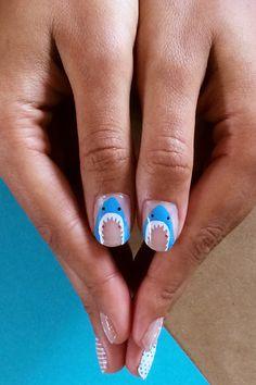 Shark Week Nails? Happy Summer To Us #refinery29  http://www.refinery29.com/2014/05/68173/scratch-summer-nail-wraps#slide1  Da-dum. Da-dum. Da-dum.