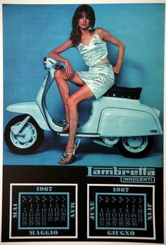 Jean Shrimpton in the 1967 Lambretta calendar.