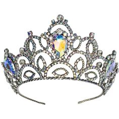 Preowned Rare Lawrence Vrba Crystal Tiara Crown (8.890 VEF) ❤ liked on Polyvore featuring accessories, hair accessories, multiple, crystal tiara, vintage hair accessories, crystal tiaras crowns, crown hair accessories and crystal crown