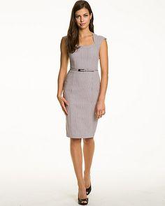 Geo+Print+Jacquard+Belted+Shift+Dress