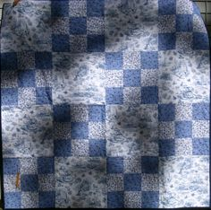 blue and white toile lap quilt