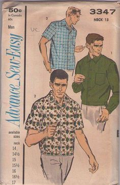 MOMSPatterns Vintage Sewing Patterns - Advance 3347 Vintage 60's Sewing Pattern ABSOLUTEY THE COOLEST Men's Bowling Shirt, Hip Band Shirt Jacket, So Rockabilly Daddy-O Neck 15