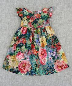 This Floral Angel-Sleeve Dress - Toddler & Girls is perfect! #zulilyfinds