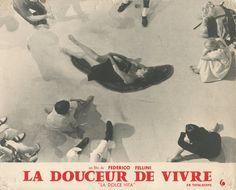 """LA DOLCE VITA Film de Federico Fellini, 1960  3 tirages argentiques d'époque sur papier cartoline, indications du film dans la marge (titre en français """"La douceur de vivre"""") 24 x 30 cm  Collection de Madame X"""