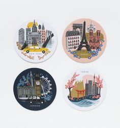 Cities 8 Coasters Featuring 4 Designs