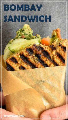 This Bombay grilled sandwich is the ultimate Indian street food. A vegetarian sandwich packed full of vegetables, cheese and a spicy coriander spread. via @pretty_patel