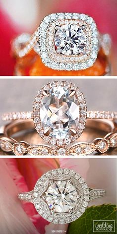 Halo Engagement Rings Or How To Get More Bling For Your Money ❤ Halo engagement rings are easy way to save money, but not sacrificing the overall large look of ring. See more: http://www.weddingforward.com/halo-engagement-rings/ #wedding #halo #engagement #rings