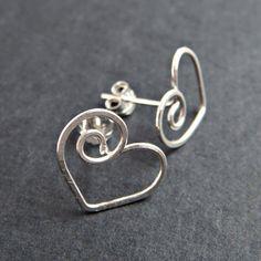 Heart Earrings in Sterling Silver Love Jewelry Heart Post