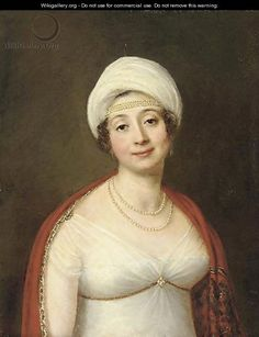 Portrait of a lady adorned with pearls, wearing a white empire style dress and white turban, draped in a Paisley shawl - Austrian School