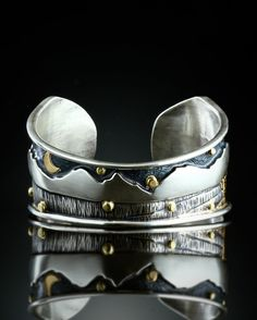 Mountains Day and Night Cuff Bracelet »« Sterling Silver and 18k Gold »« by Amy Buettner on Etsy