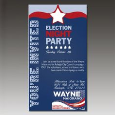 Wayne Maiorano for Raleigh City Council- Election Night Party Invite