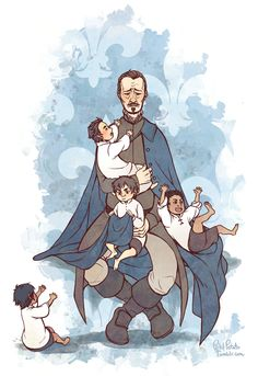 The Musketeers fanart, Awwww kiddie Musketeers with papa Treville <3
