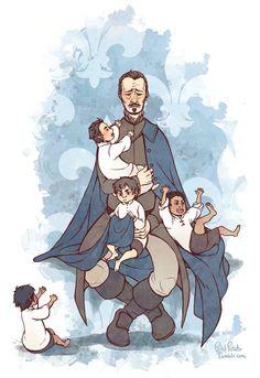 The Musketeers fan art, Awwww kiddie Musketeers with papa Treville <3