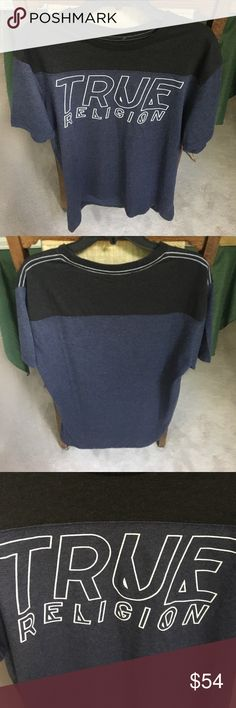 NWT True Religion script football crew neck tee NWT True Religion script football crew neck tee. Mens XL. Color: heather navy/heather black. Style MUU8Z65EJT. Made in India. 49% polyester 37% cotton 14% viscose. Happy poshing😚👍 True Religion Shirts Tees - Short Sleeve