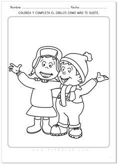 Pipo y su hermana Cuca en invierno. Actividad para colorear. #Navidad #colorear #Pipo