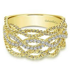 14K Yellow Gold Entwined Pave Diamond Ring