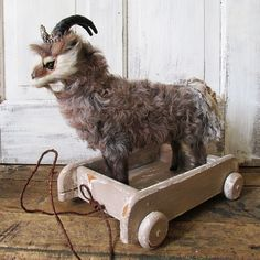 Rustic farmhouse goat pull toy handmade by AnitaSperoDesign