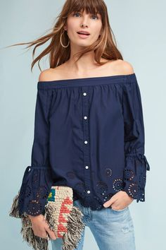 Shop the Off-The-Shoulder Eyelet Blouse and more Anthropologie at  Anthropologie today. 545aca908d4f