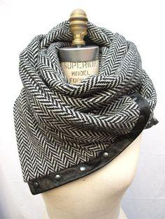 Leather trim, silver stud scarf