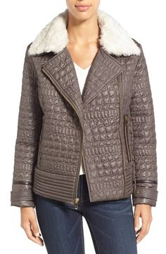 Free shipping and returns on Via Spiga Detachable Faux Fur Collar Quilted Moto Jacket at Nordstrom.com. A moto-inspired jacket takes on posh appeal with crocodile-patterned quilting, contrast faux-leather trim and gleaming goldtone hardware. A plush panel of faux fur caps off the style at the collar.