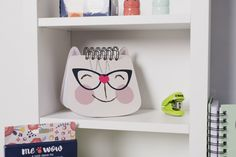 We all need a notebook of a cat wearing glasses! Cat Wearing Glasses, Uni, Toy Chest, Storage Chest, Stationery, Notebook, Shapes, Shopping, Furniture