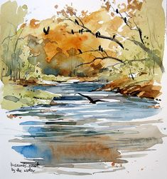 Pin by sunanda garde on hobbies & crafts in 2019 watercolor paintings, watercolor Watercolor Art Paintings, Watercolor Painting Techniques, Watercolor Pictures, Watercolor Projects, Watercolor Landscape Paintings, Watercolor Trees, Watercolor Sketchbook, Abstract Watercolor, Watercolor And Ink