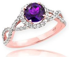 rose+gold+amethyst+engagement+rings | Rose Gold Amethyst Birthstone Infinity Ring with Diamonds Engagement ...