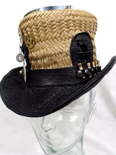 Steampunk Straw Top Hat by REShats on Etsy, $185.00