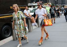 Veronique Tristram (right) in Balenciaga Espadrille boots and Loewe bag