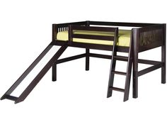 Camaflexi Low Loft Bed with Slide - Mission Headboard - Cappuccino Finish - C512_CP