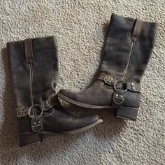 Bed Stu Opal Leather Harness Boots NEVER WORN!!! Bed Stu Opal boots in soft tumbled brown leather. Subtly slouchy silhouette with metal O-ring harness detail and stacked heel. Bed Stu Shoes