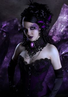 Lisianna Argeneau in beautiful purple and black lace corset and neckwear  sc 1 st  Pinterest & Halloween Outfit Ideas | Goth girls Victorian and Gothic